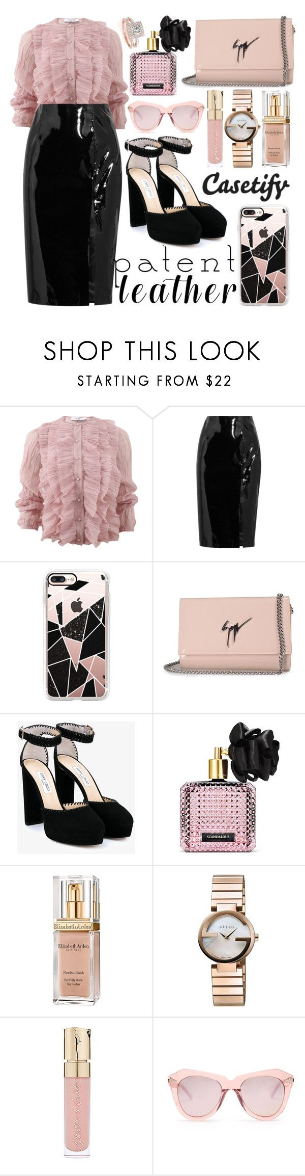 """""""City Slickers"""" by fattie-zara ❤ liked on Polyvore featuring Givenchy, Topshop Unique, Casetify, Giuseppe Zanotti, Jimmy Choo, Victoria's Secret, Elizabeth Arden, Gucci, Smith & Cult and Karen Walker"""
