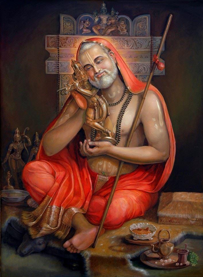 Krishna idol and saint Raghavendra Swamy