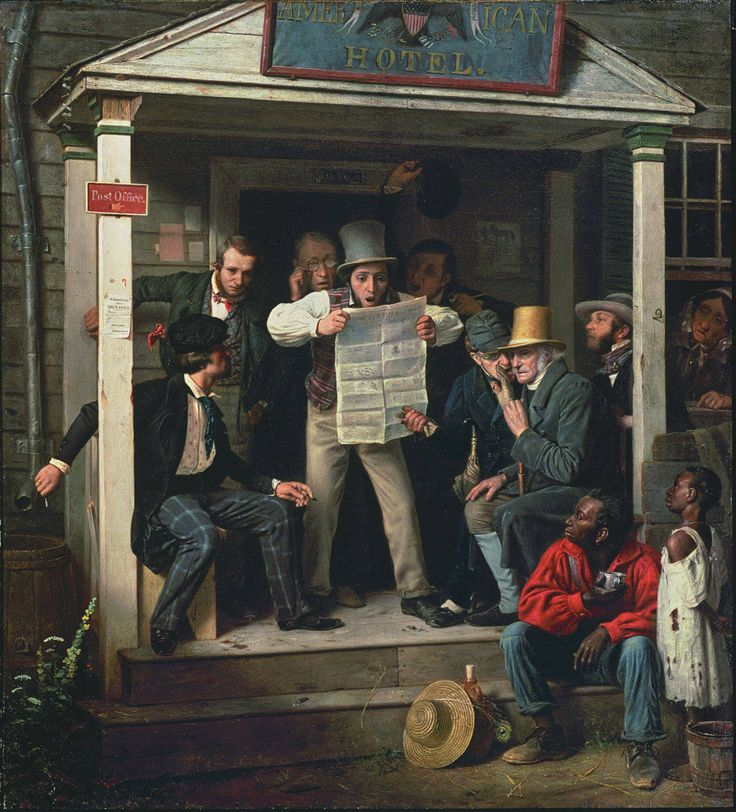 Richard Caton WoodvilleWar News from Mexico 1848Oil on canvas 27 x 24 in Manoogian Collection, Grand Rapids, Michigan  Exhibited at the American Art-Union in 1849 and ... Richard caton woodville #America #painting