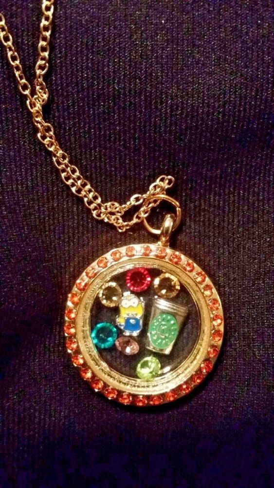 Minion & Starbucks CoffeeThemed Living Memory Locket Floating Charm Necklace #Unbranded #Chain