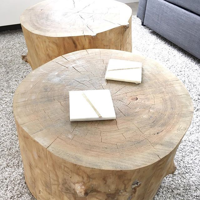 *www.ourscandihouse.ca* We made these beautiful stumps into the most perfect coffee tables.
