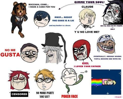 BLACK BUTLER MEMES!!! Sebastian as Pedo Bear is totally cracking me up right now