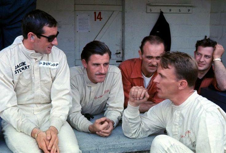 Jackie Stewart, Dan Gurney, Graham Hill, Maurice Trintignant, and Innes Ireland