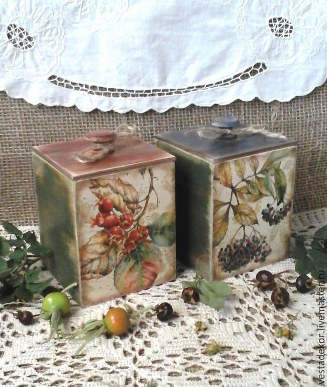 Купить Короба для кухни Ягодная осень в стиле кантри - короб для хранения, короб для кухни