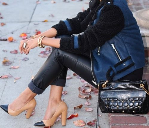 Le Catch: Black and Blue: Shoes, Outfits, Fashion, Varsity Jackets, Street Style, Pump, Heels, Leather Pants, Black