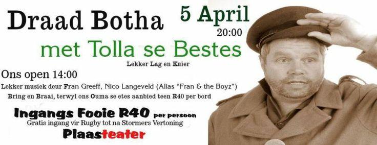 Lekker Lag Grappe, Draad Botha (Afrikaanse Komedie Vertoning) & Leker Musiek(Plaasteater)   Brackenfell   Gumtree South Africa   110517350