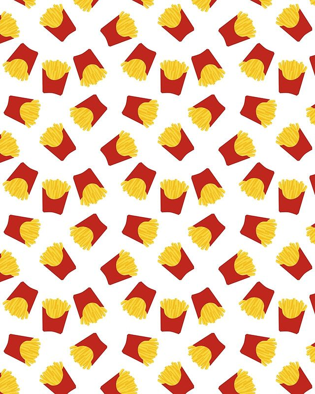 FRENCH FRIES POMMES FAST FOOD PATTERN -  French Fries is the best food ever created. You can just snack on it or have it on the side with burgers. However you eat, it's delicious. Kids love it, adults love it, everybody loves it. Yummy!  french fries fries pommes fast food pattern junk food yummy kitchen vegan kids hipster