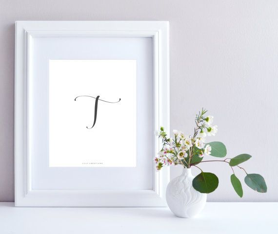 Initial T art print  Initial Print by LillyCreationJewelry on Etsy
