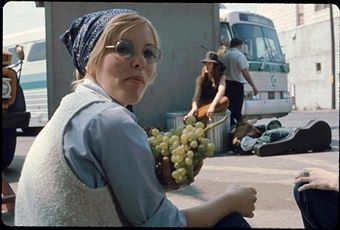 This young lady is eating some grapes while she is waiting for the bus to take her to the festival site.  Looks like a Peter Pan bus in the backgraound.