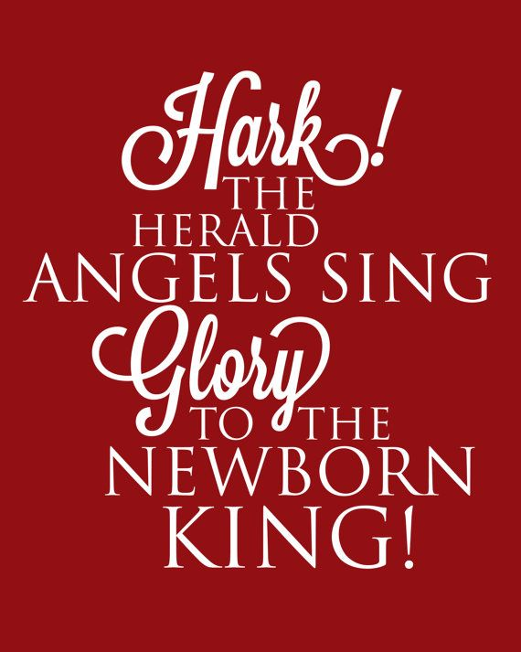 Christmas Printable Art with Christmas Carol Quote Hark The Herald Angels Sin...