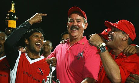 Sir Allen Stanford with the Trinidad captain Daren Ganga celebrates after the Twenty20 Super Series match against Middlesex. Photograph: Tom Shaw/Getty Images