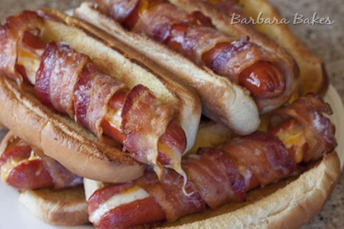 Bacon Wrapped Cheese Hot Dog