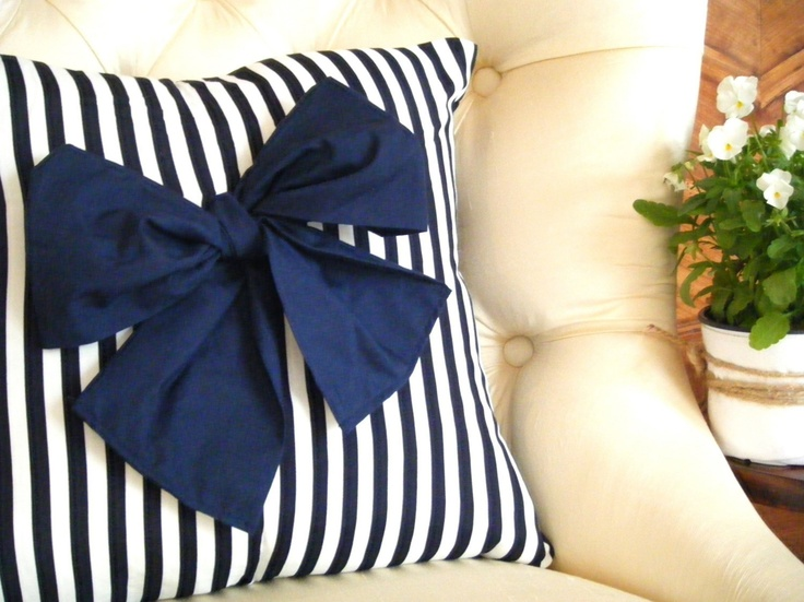 Preppy Love Cushion  Navy blue and white by LaurenAndTheLostBoys, $45.00
