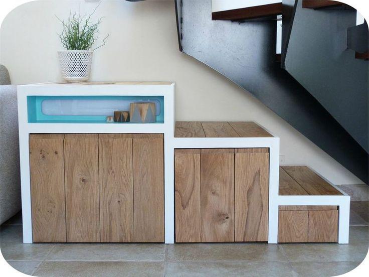 meuble escalier diy bois palette wood pinterest. Black Bedroom Furniture Sets. Home Design Ideas