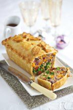 Leek, squash and broccoli pie  with chestnuts, vegan cream cheese, sunblush tomatoes, pinenuts, red onion . . .