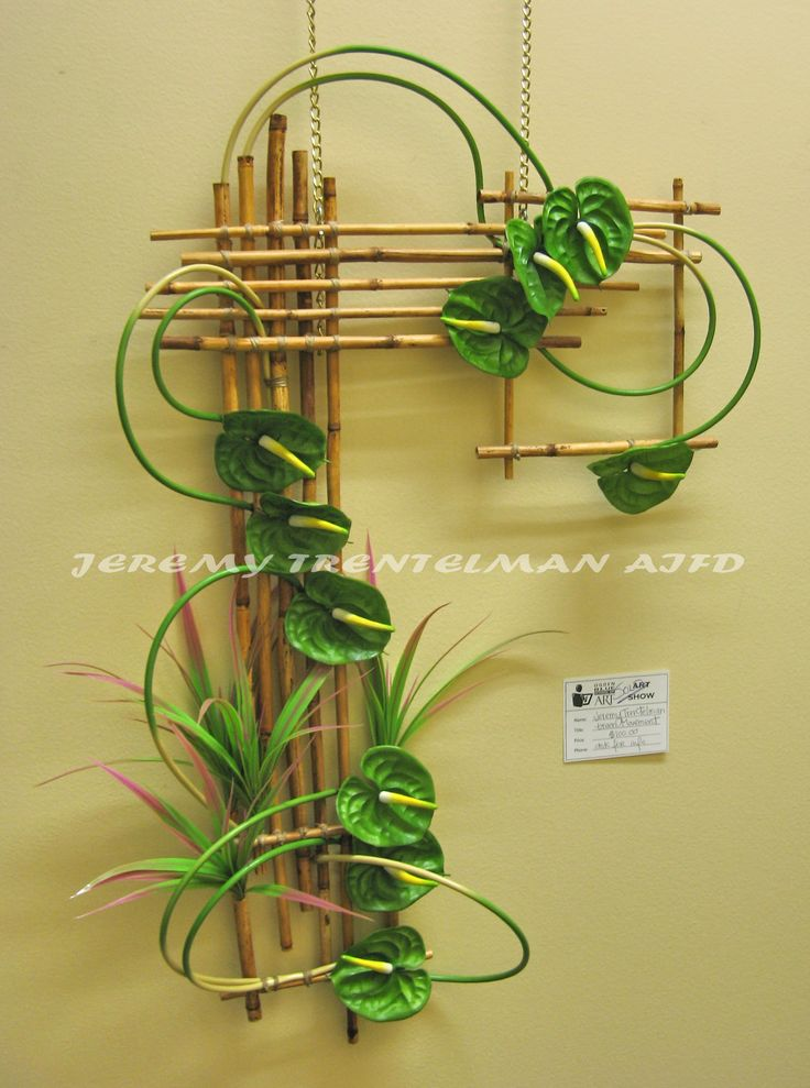 "A Green Movement: 24""x36"". Anthurium on rivercane frame, This was one of several pieces on exhibit at my last art show."