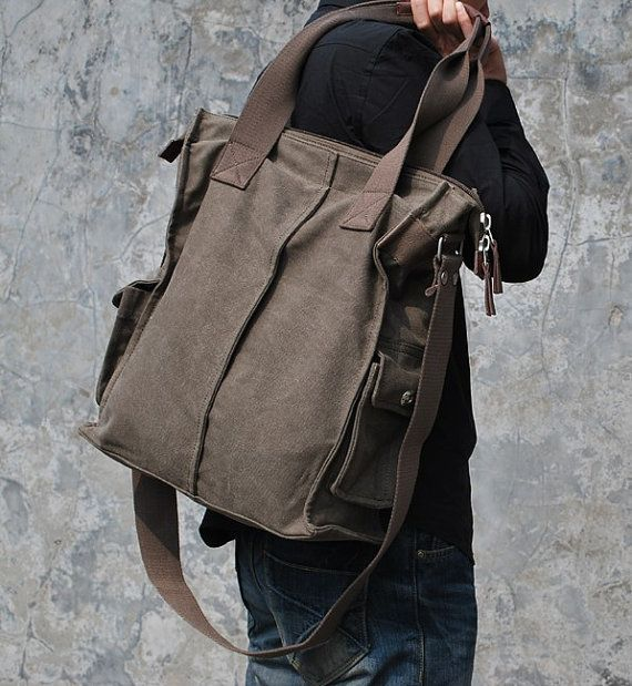 Black / Coffee Canvas Tote Men's Bag Shoulder Bag with Cross Body Strap for Men Satchel-Briefcase Commuter Bag Travel Bag Gift for Men on Etsy, $95.80