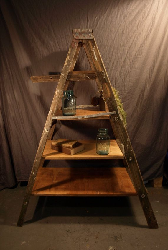 Painting Ladder Bookshelf by therefinedpallet on Etsy, $250.00