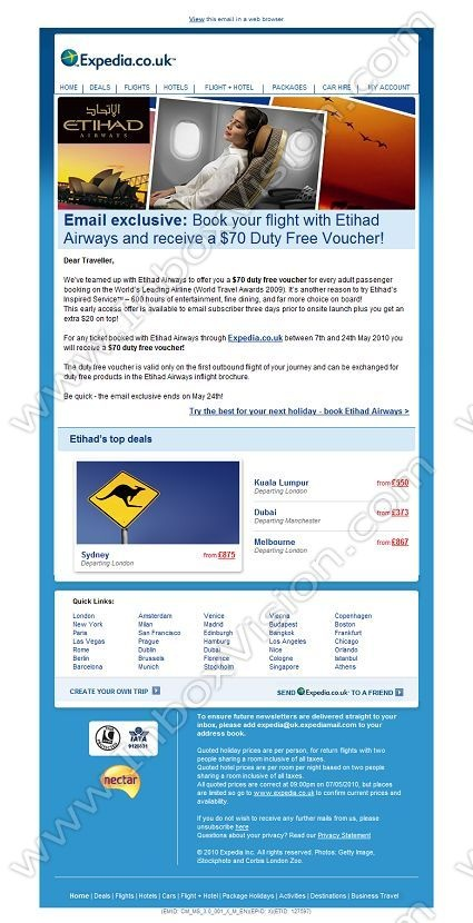 Company:    Expedia.co.uk    Subject:    Email exclusive: USD70 duty-free voucher for every Etihad Airways flight booked             INBOXVISION is a global database and email gallery of 1.5 million B2C and B2B promotional emails and newsletter templates, providing email design ideas and email marketing intelligence www.inboxvision.com/blog  #EmailMarketing #DigitalMarketing #EmailDesign #EmailTemplate #InboxVision  #SocialMedia #EmailNewsletters