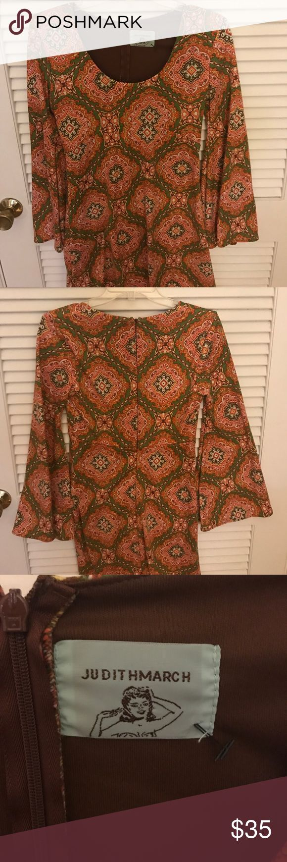 Judith March  dress Brown Green and Orange size small bohemian printed Judith March dress. Long Sleeve dress with bell sleeves. Good quality material, perfect for cool temperatures (like fall and winter in the south), maybe all year in other areas!  Very cute dress can be paired with boots or heels! Judith March Dresses Long Sleeve