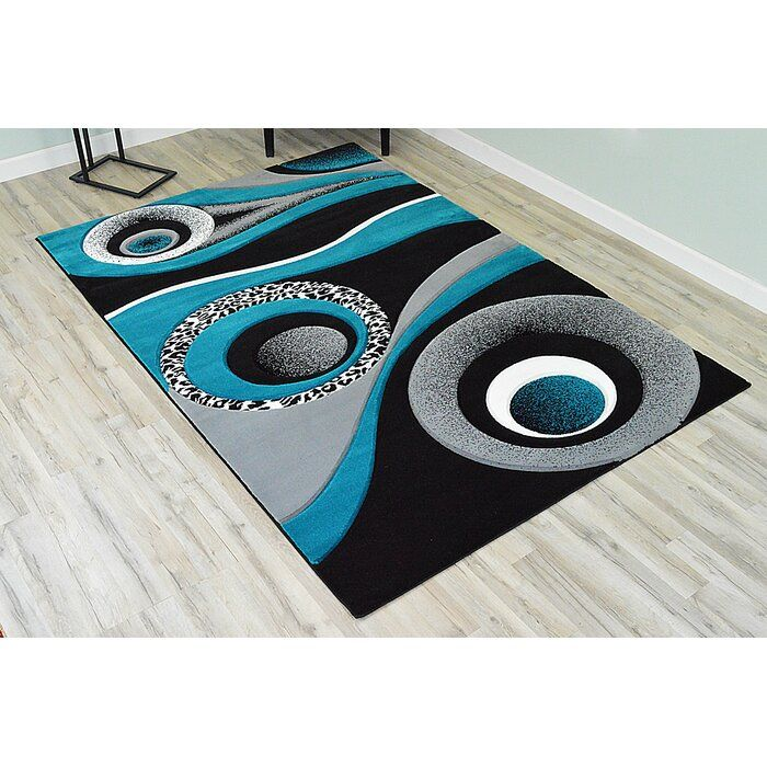 Mccampbell Abstract Turquoise Gray Black Area Rug In 2020 Black Area Rugs Area Rugs Turquoise Grey Living Room