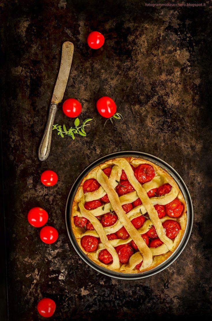 Fotogrammi di zucchero: Crostata di pomodorini e cacio