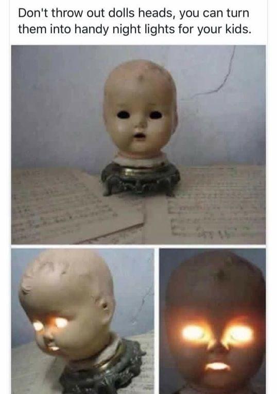 Don't throw away doll heads; turn them into night lights