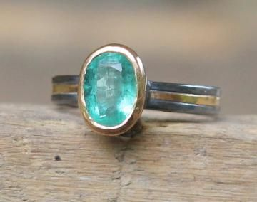 Hammer Forged 22k And Sterling 1.25ct Zambian Emerald Panna Stone Sz 6 by ArtesanJewelry for $349.00