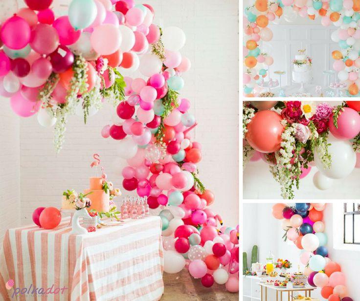Tutorial!! Os arcos de balões ficaram mais sofisticados e detalhistas, eles agora são feitos com balões de diferentes tamanhos, flores e folhas para dar aquele ar de conto de fadas.