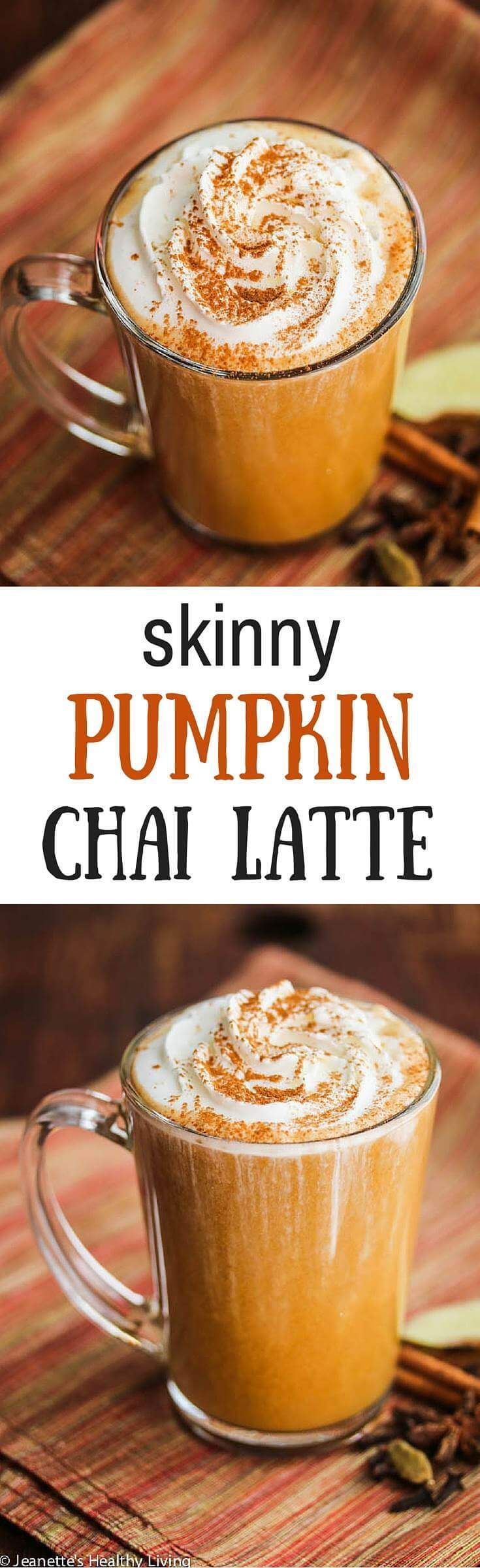 Skinny Pumpkin Chai Latte Recipe - there are just 143 calories in a serving in this warm, cozy pumpkin chai latte ~ http://jeanetteshealthyliving.com