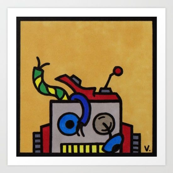 by Vernon Fourie | popart, pop art, illo, pen and ink, broken, toy, robot