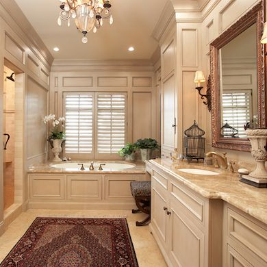 Beautiful marble and cream colors w/lots of traditional moldings, cornices, etc.