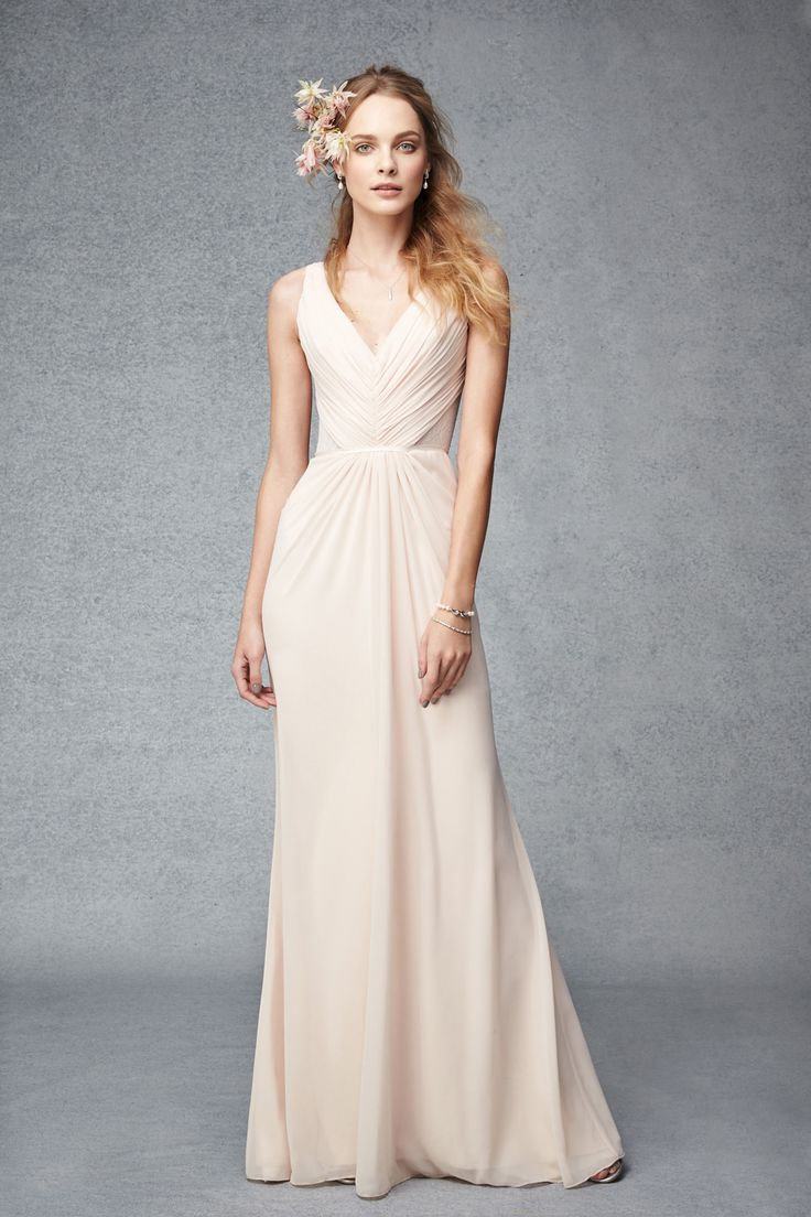81 best bridesmaid dresses images on pinterest wedding blush v neck chiffon bridesmaids gown by monique lhuillier with soft pleating ombrellifo Images