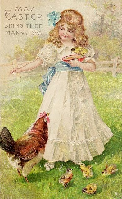 Beautiful old easter postcard. Vintage Rose Album...........................................lb xxx