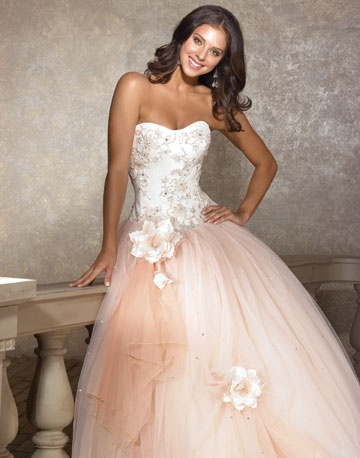 Pale pink wedding dress with flower encrusted tulle skirt
