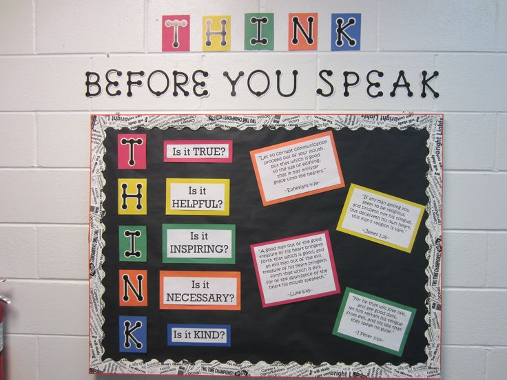 """THINK before you speak"" bulletin board- scripture verses on the right side of the bulletin board."