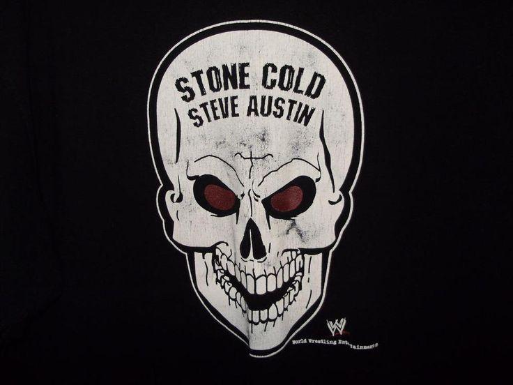 Stone Cold Steve Austin WWE Steve & Barry's Mens Size L Short Sleeve Black Shirt #SteveBarrys