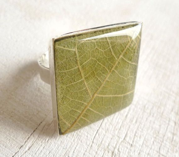 Pressed Leaf Resin Ring - Fig leaf in Epoxy Resin - Handmade resin jewelry for nature lovers. $22.00, via Etsy.