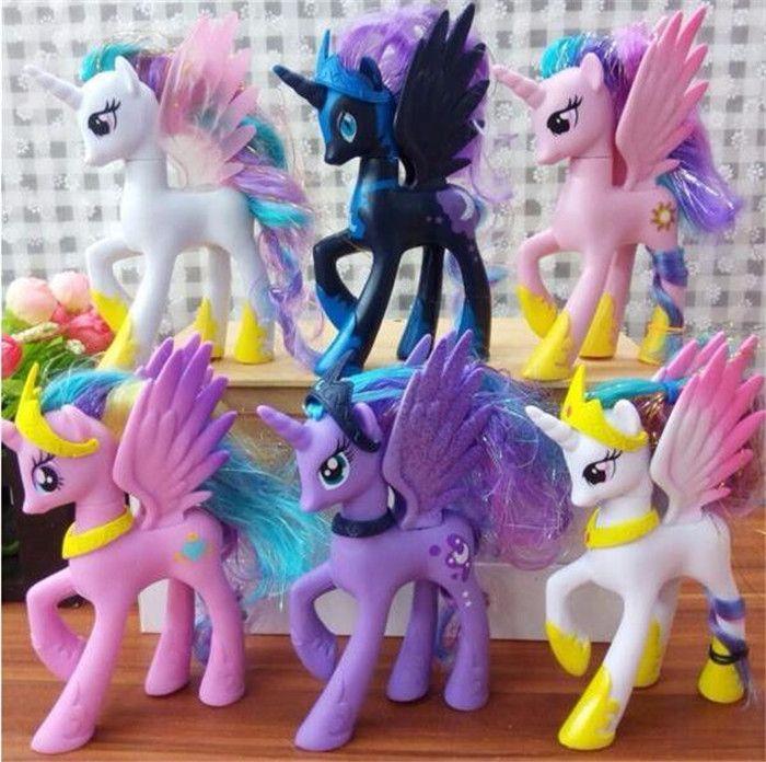 新しいArrival14cm私アニメおもちゃコレクションプリンセスcelestiaルナ悪夢ナイトリトルかわいいユニコーン希少クナイ馬のおもちゃ