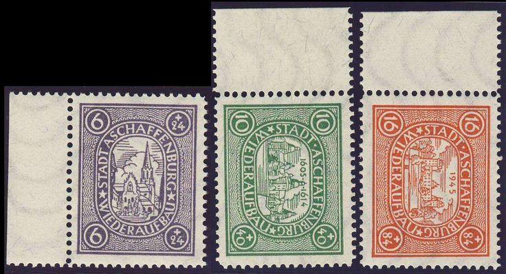 German Local Issue, Lokalausgaben 1946, Aschaffenburg 1946, nicht amtliche Ausgabe, Wz. waager.Wellenlinien, postfrisch Pracht (postfr., Mi.-Nr.I-III Ax, Mi.EUR 27,--). Price Estimate (8/2016): 10 EUR.
