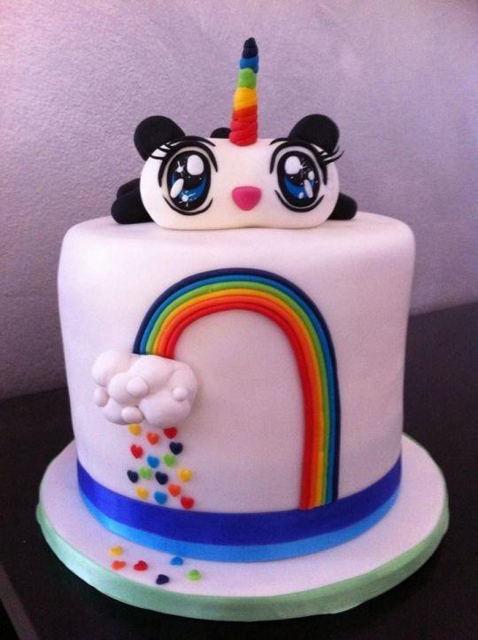 Rainbow pandicorn cake