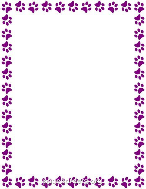 Printable purple paw print border. Use the border in Microsoft Word or ...