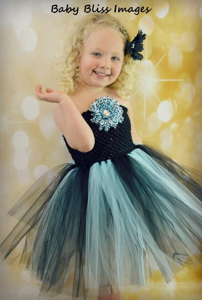 Newborn - Size 8 Black and Light Blue Cheetah Tutu Dress (Add 8.00 listing to cart with this for 6-8 year size). $35.00, via Etsy.