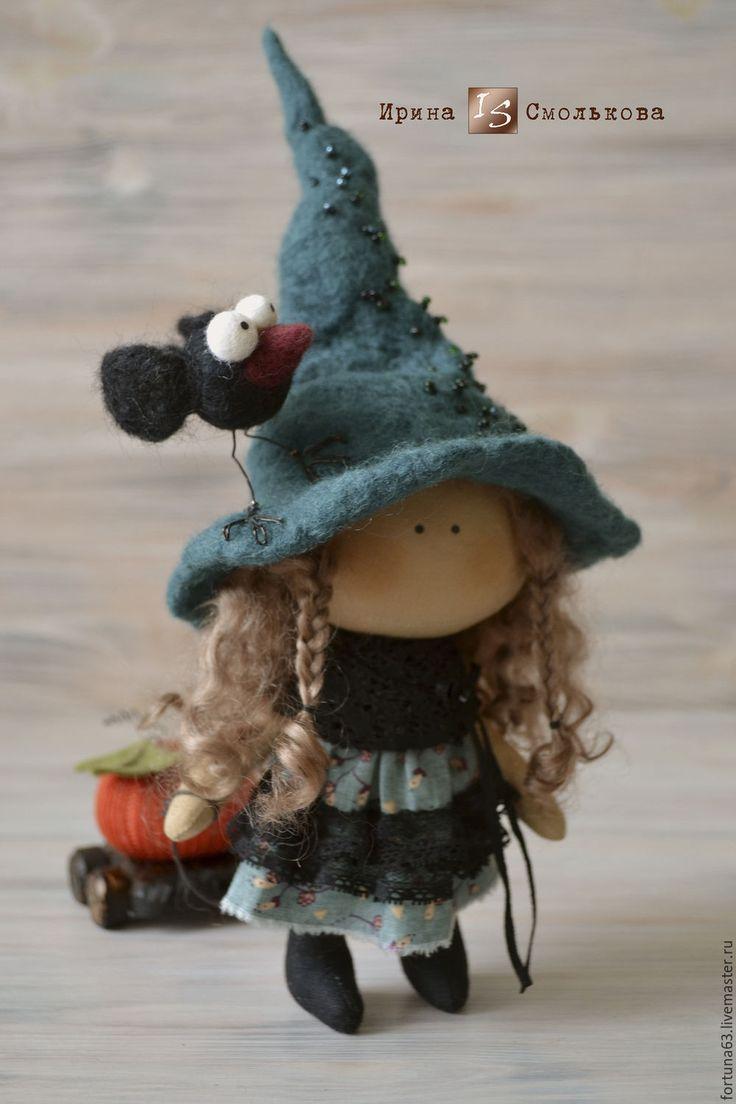 Купить текстильная кукла ВЕДЬМОЧКА - тёмно-зелёный, ведьма, ведьмочка, ведьмы, Хэллоуин, текстильная кукла