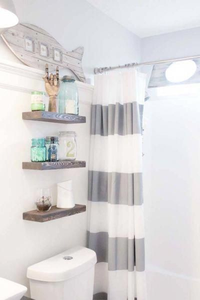 Grey nautical striped shower curtain. Rustic floating shelves above toilet.  Rep…   – curtain bathroom