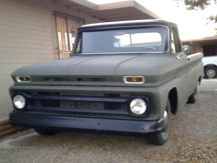 On 64 Chevy C10 long bed OD Green 350 crate motor 4 bolt Main