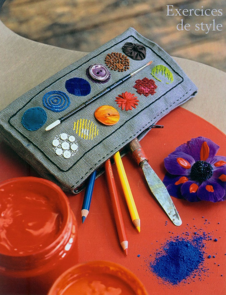 "This ""Paint palette"" case is awesome! I'd want the brush on the front to be sewn or crafted instead of a real paint brush, however. I'd also like a little loop to add a wristlet strap or lanyard."