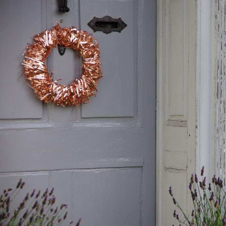 Our summer front door with our copper wreath now for sale on easy. #Copper #Wreath #Copperwreath #home #door #decor