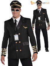 Adults Captain Wingman Costume Mens Pilot Fancy Dress Uniform Aviator Outfit