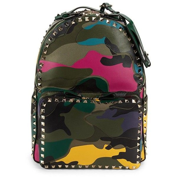 VALENTINO GARAVANI Miscellane Camouflage Patch Leather Backpack ($1,800) ❤ liked on Polyvore featuring bags, backpacks, patch backpack, camo backpacks, day pack backpack, leather knapsack and camo bags
